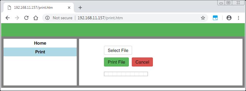 emWeb USB Printer user interface 02